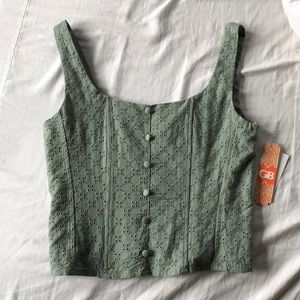 SALE NWT Gianni Bini Sage Green Eyelet Tank Top